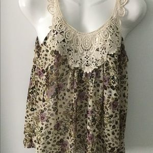 Forever 21 Floral Sheer Tank with Crochet Collar